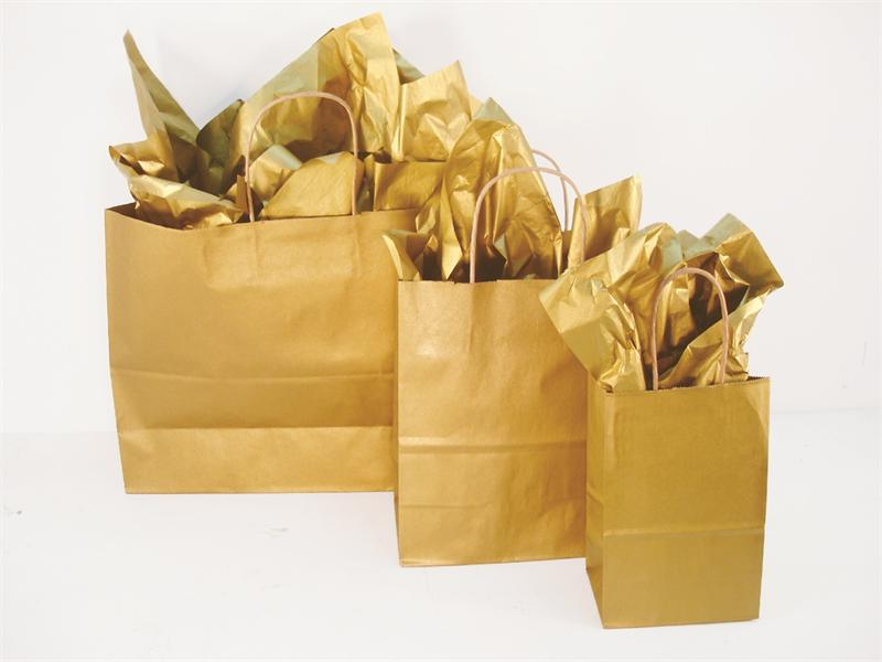 Gold Metallic Collection Shopping Bags